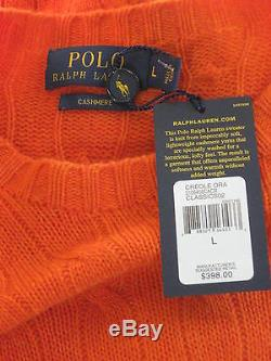 POLO RALPH LAUREN Cable Knit 100% CASHMERE SWEATER CREOLE ORANGE L NWT $398