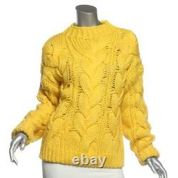 POLO RALPH LAUREN Cashmere & Wool OVERSIZED Yellow Chunky Cable Knit Sweater S/P