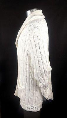 POLO RALPH LAUREN Ivory Cotton Cable Knit Button Front Cardigan Shawl Collar XXL