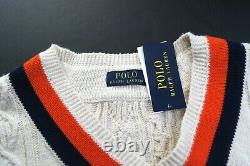 POLO RALPH LAUREN Men's Shield-Patch Cable-Knit V-Neck Cricket Sweater NEW NWT