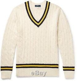 POLO RALPH LAUREN Men's Sweater Medium Cream Cable Knit Tennis Cricket $268