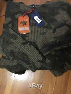 POLO RALPH LAUREN NEW Men's Country Camouflage Cable-knit Sweater Sz Large $298