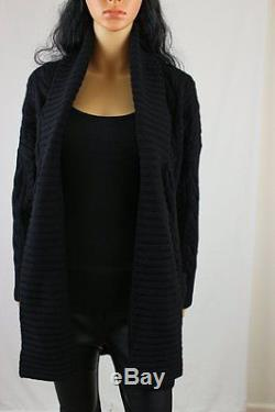 POLO Ralph Lauren Cable Knit Cardigan Wool/Cashmere Blend Black Womens M MD $265