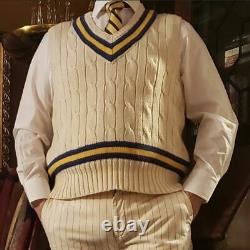 POLO Ralph Lauren Luxury cable Knit Cricket Sweater Vest Ivory Navy Gold Medium
