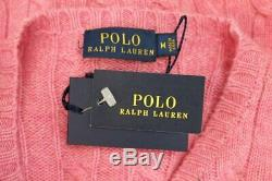 POLO Ralph Lauren Sz M Medium Pink Cable Knit 100% Cashmere Pullover Sweater NWT