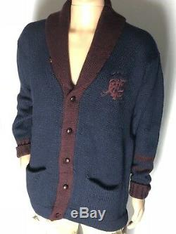 POLO Ralph Lauren VINTAGE Shawl-Collar Cable-Knit 100% Wool Cardigan STUNNING