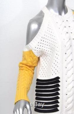 PRABAL GURUNG Womens White+Yellow+Black Cable Knit Open Shoulder Sweater NEW S