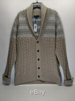 Peter Millar Cable Knit Wool Cashmere Cardigan Sweater Large $498 Made in London