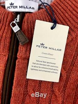 Peter Millar Crown Fleece Cable Knit Sweater Baby Wool Yak Cashmere Blend $295