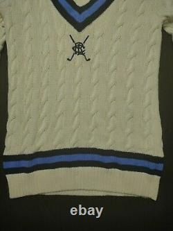 Polo Golf Ralph Lauren Cable Knit Tennis Cricket Sweater Size Small Beige Blue