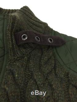 Polo RALPH LAUREN Cable Knit Hybrid Cashmere-Wool Sweater Jacket Green Sz M $795