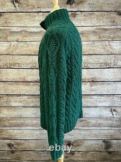 Polo Ralph Lauren 100% Cashmere Hand Knit Heavy Cable Knit Sweater Size M Green