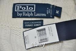 Polo Ralph Lauren 100% Cashmere Heavy Hand Knit V-Neck Cable Sweater