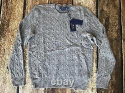 Polo Ralph Lauren Cable-Knit 100% Cashmere Sweater Fawn Grey Mens XL New