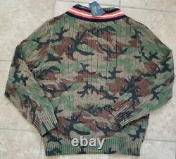 Polo Ralph Lauren Cable Knit Camouflage RL Tigers Camo V Neck Sweater Sz Large
