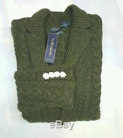 Polo Ralph Lauren Cable Knit Lambswool/cashmere Olive Blazer Jacket/sweater (l)