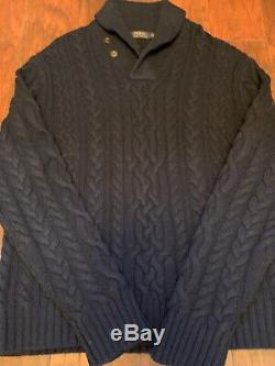 Polo Ralph Lauren Cable Knit Shawl Collar Sweater XXL