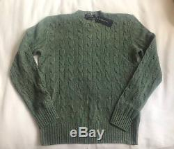 Polo Ralph Lauren Cashmere Sweater Cable Knit Jumper Green BNWT Medium M £389