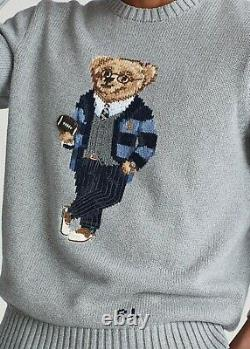 Polo Ralph Lauren Cotton Gray Bear Sweater Rugby Football Size M Retail $398.00
