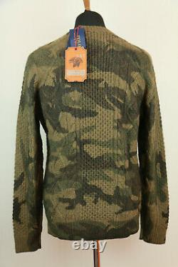 Polo Ralph Lauren Country Guide Cable Knit Wool Jumper Sweater Camo Medium M