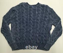 Polo Ralph Lauren Indigo Dyed Blue Vintage Washed Cable Knit Sweater Cardigan ML