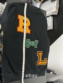 Polo Ralph Lauren Large Cardigan Shawl RRL Patchwork P Wing Rugby Varsity Black