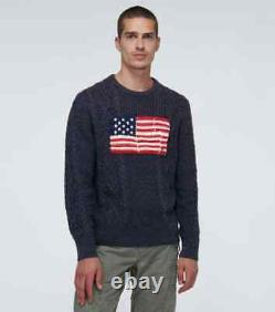 Polo Ralph Lauren Limited Edition Navy Cable Knit Aran USA Flag Sweater XXL New