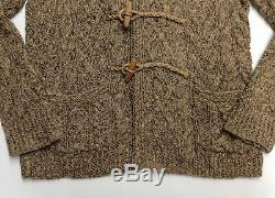 Polo Ralph Lauren Men Wood Toggle Chunky Ranch Barn Cable Knit Sweater Cardigan