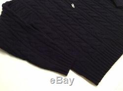 Polo Ralph Lauren Men Wool Cashmere Chunky Cable Full Zip Knit Sweater Cardigan