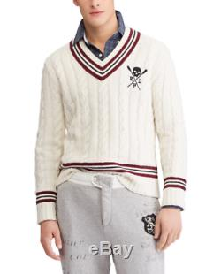 Polo Ralph Lauren Mens Cashmere Cricket Cable Knit Sweater Cabled M L Medium