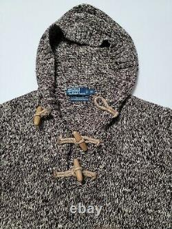 Polo Ralph Lauren Mens Large Brown Chunky Cable Knit Toggle Hoodie