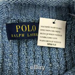 Polo Ralph Lauren Mens Sweater Cable Knit U. S American Flag Blue Variety Sizes