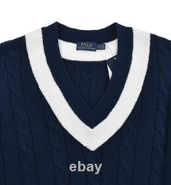 Polo Ralph Lauren Navy Cotton Cable Knit V-Neck Tennis Cricket Sweater New