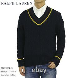 Polo Ralph Lauren Preppy V-neck Cable Knit Sweater Navy with Yellow, Wine