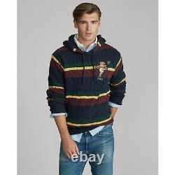 Polo Ralph Lauren Rugby Kicker Bear Hooded Cable Knit Embroidered Jumper- UK S