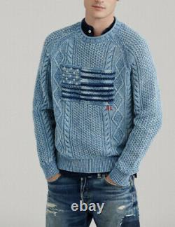 Polo Ralph Lauren Small Indigo Blue Flag Sweater RRL Flag Sailing Cable Knit XS