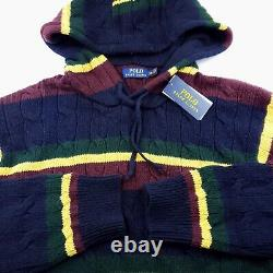 Polo Ralph Lauren St Andrews Navy Cable Knit Hooded Hoodie Sweater Jacket 2XL