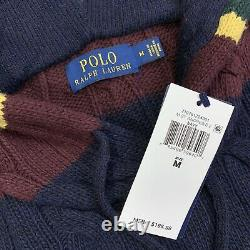Polo Ralph Lauren St Andrews Navy Cable Knit Hooded Hoodie Sweater Size Medium
