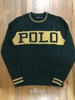 Polo Ralph Lauren The Logo Aran Cable Knit Sweater size Medium