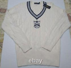 Polo Ralph Lauren Varsity Crest Cricket V Neck Cable Knit Sweater NWT M