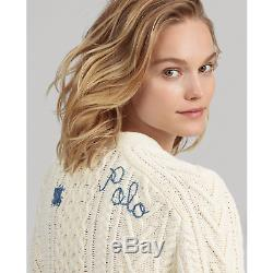 Polo Ralph Lauren Women Repaired Patchwork Boyfriend Cable Knit Sweater Cardigan