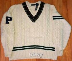 Polo Ralph Lauren Wool Signature V-neck Cable Knit Tennis Sweater White XL