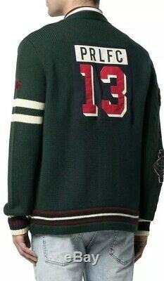 Polo Ralph Lauren Wool Varsity P Cardigan Cable Knit Letterman Patch Sweater L