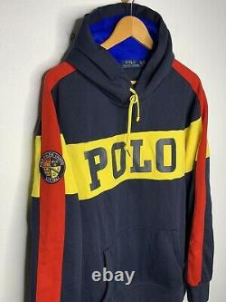 Polo Ralph Lauren X-Large Sweater Hoodie Cookie Crest VtG RRL Spellout Yellow XL
