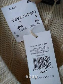 Polo by Ralph Lauren Tussah Silk Cable Knit Cricket Jumper Small Cream/Brown