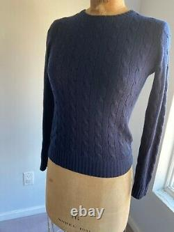 Pre Owned Ralph Lauren Black Label Cashmere Navy Cable Knit Sweater Women Size S