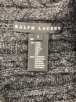 RALPH LAUREN Cashmere Lamb Wool Black Label Gray Cardigan Sweater Large L (E3)