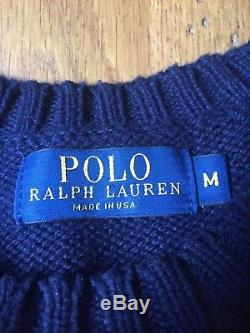 RALPH LAUREN POLO CABLE KNIT SWEATER with EMBROIDERED U. S. FLAG