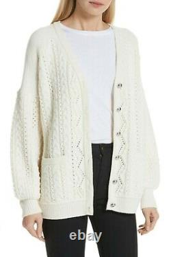 ROBERT RODRIGUEZ Cable Knit Wool Cashmere Cardigan Sweater (Size L) NWT $565
