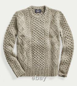 RRL Ralph Lauren Mens Medium M Cable-Knit Donegal Wool Sweater Olive $545